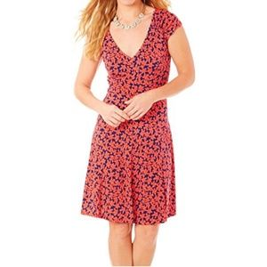 London Times Shirred Shoulder Fit and Flare Dress